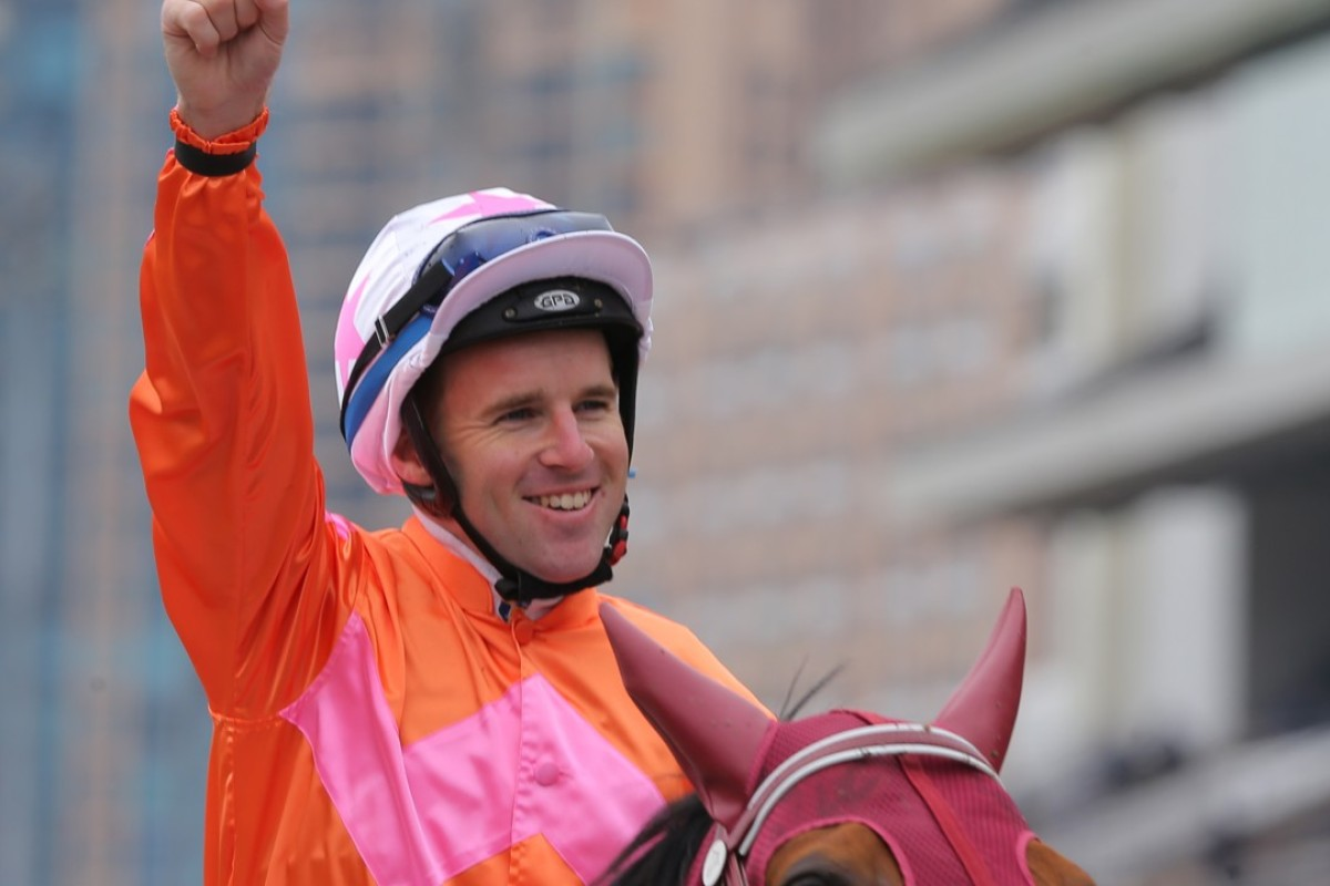 Tommy Berry celebrates Helene Paragon's victory in the Group One Queen's Silver Jubilee Cup. Photos: Kenneth Chan