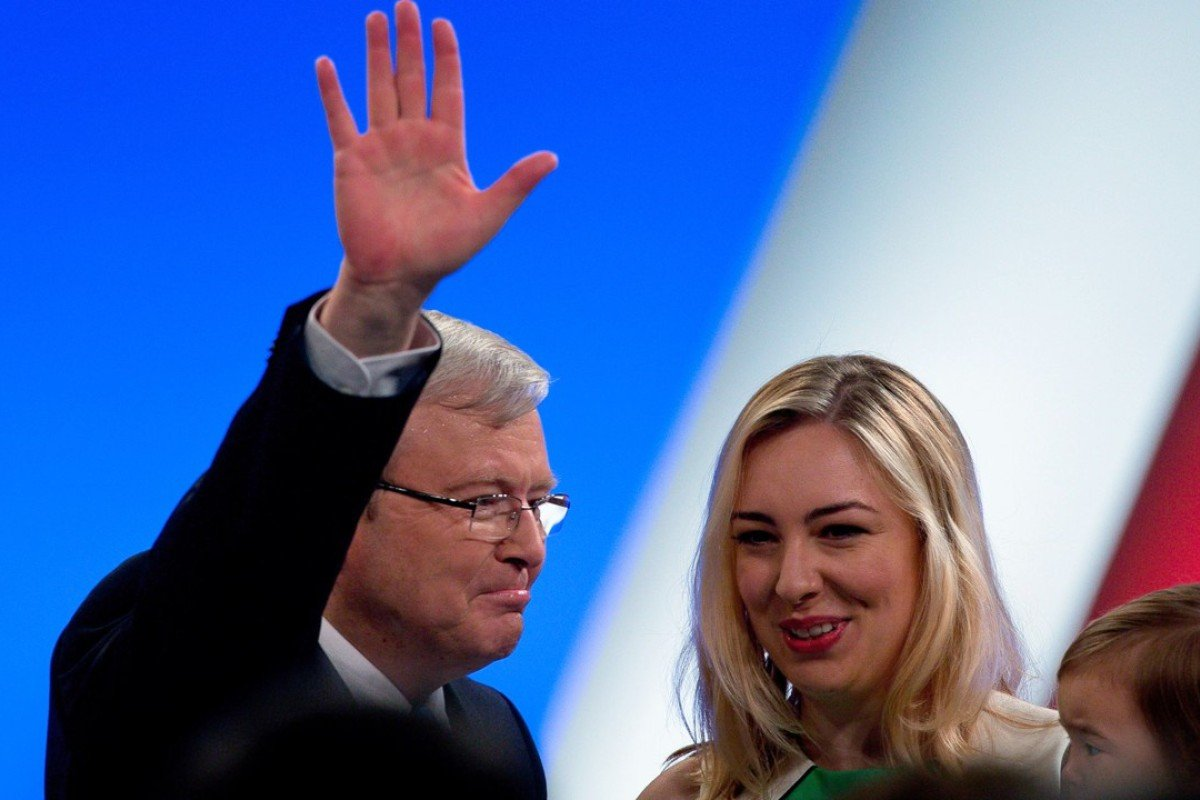 Former Australian prime minister Kevin Rudd with daughter Jessica. Photo: AFP