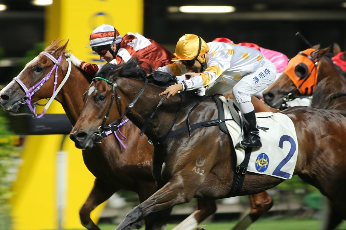 Sight Seeing (left) storms late but just misses catching Good Companion at Happy Valley on Wednesday night.