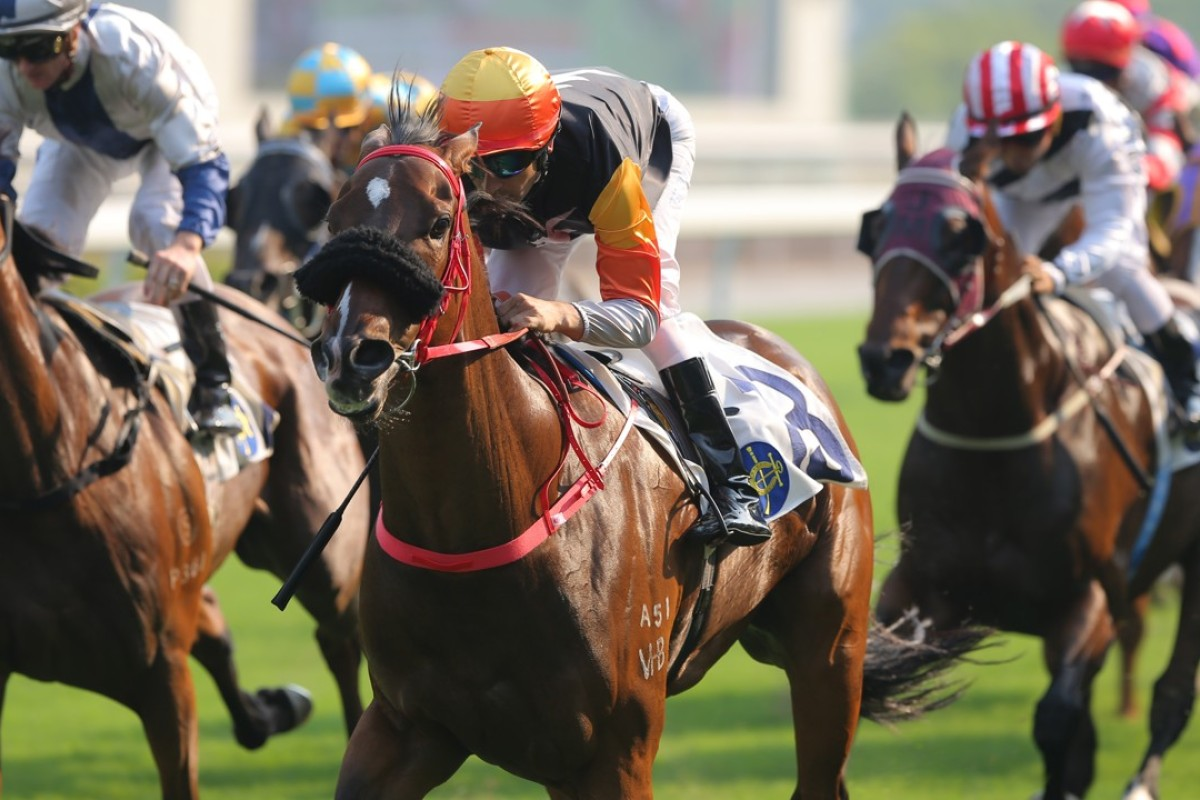 Joao Moreira guides Premiere to victory in the Chinese Recreation Club Challenge Cup at Sha Tin on Saturday. Photos: Kenneth Chan