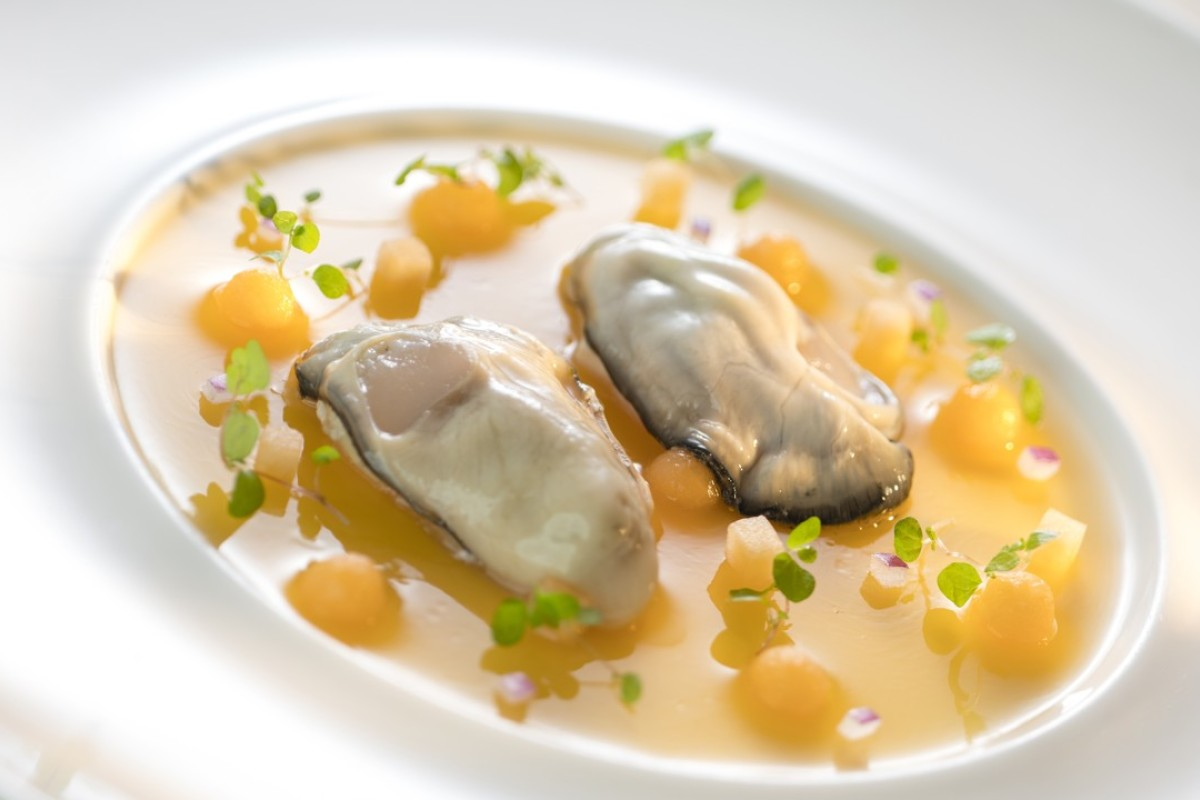 Daniel Sorlut special oysters Cantaloupe melon and shallot cream at Restaurant Petrus.