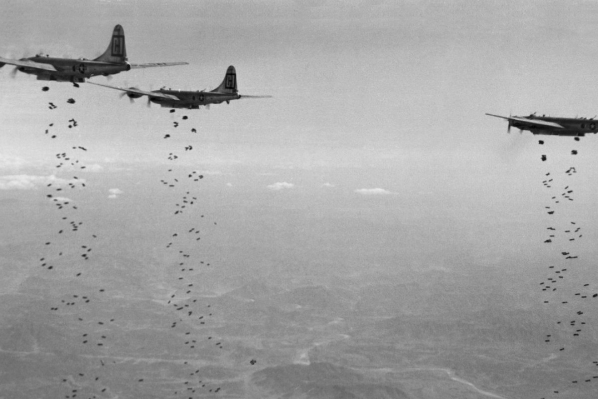 US Air Force planes bomb North Korea in January 1951. Donald Nichols is credited with providing the air force more bombing targets than anyone else during the Korean war. Picture: AP