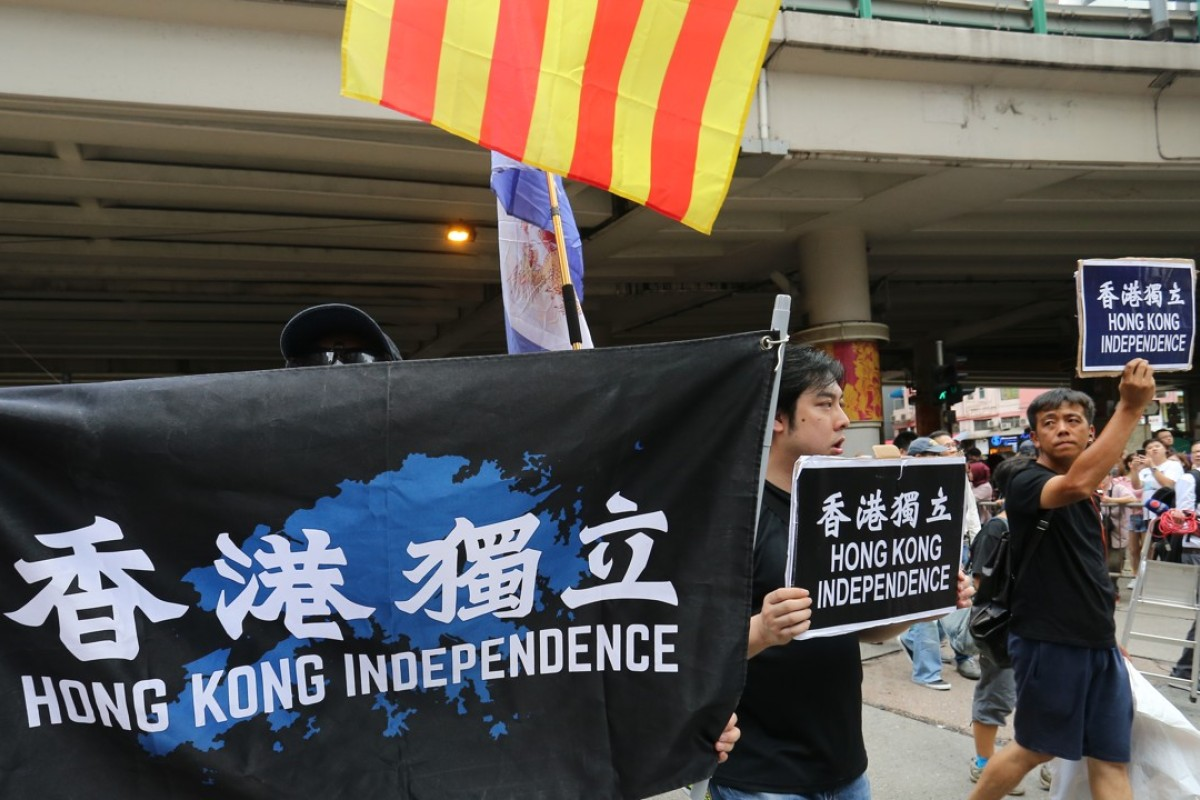 Independence activists in Hong Kong on October 1. Picture: SCMP