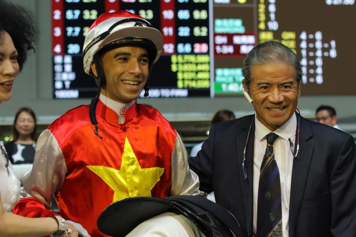 Joao Moreira after Wah May Baby's win on Wednesday night. Photos: Kenneth Chan.