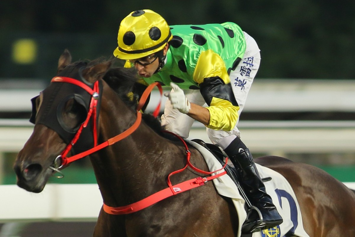 Joao Moreira waves his finger as Nothingilikemore cruises to a dominant first-up win. Photos: Kenneth Chan