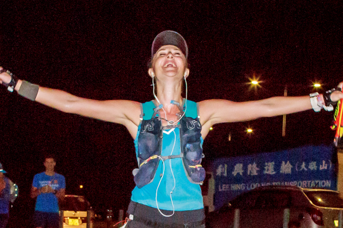 "Elsa Jean de Dieu crosses the finish line, using ""the power of now"" to win. Photos: Lantau Base Camp"