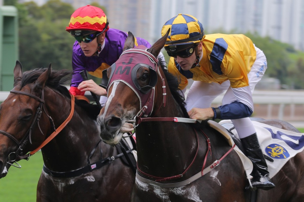 Sam Clipperton guides Amusing City (right) to victory at Sha Tin in April. Photo: Kenneth Chan