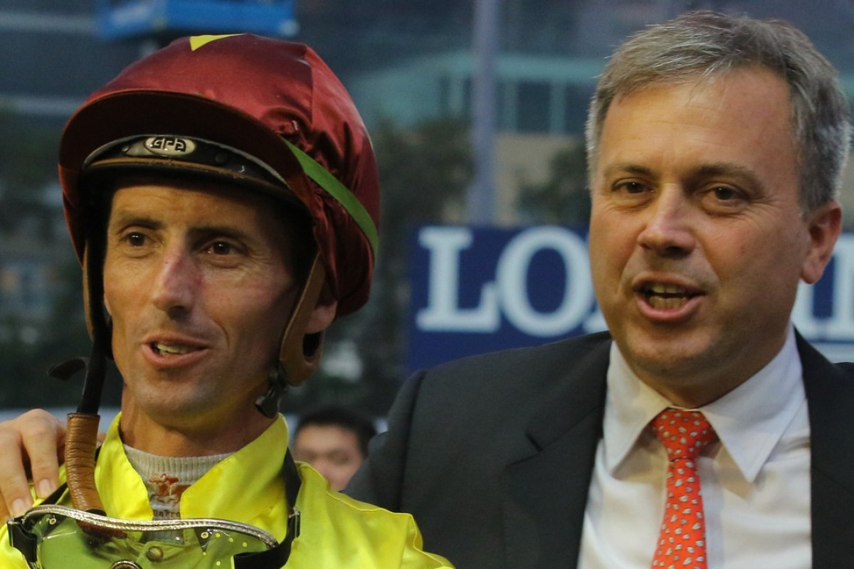 Nash Rawiller and Caspar Fownes celebrate Southern Legend's win at Happy Valley. Photos: Kenneth Chan.