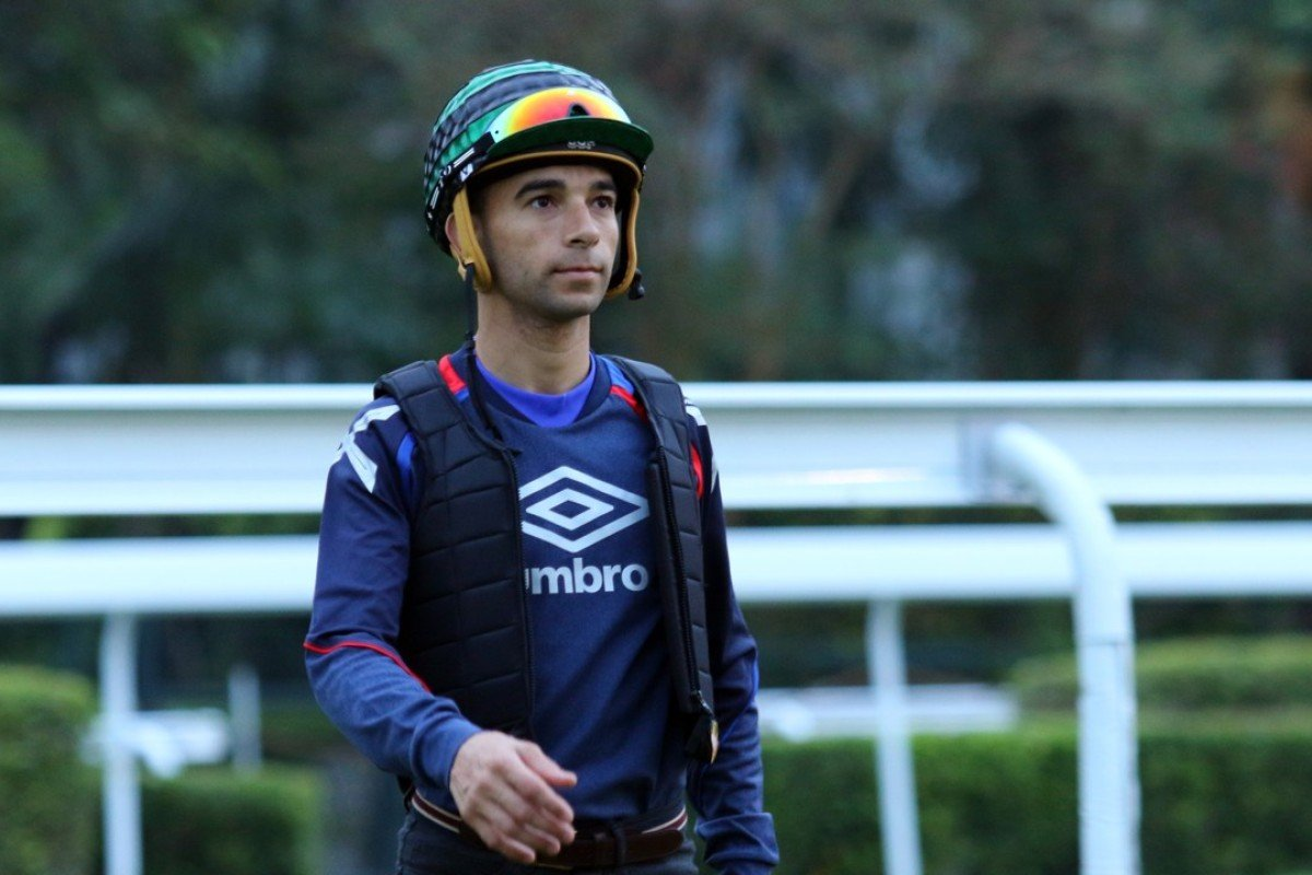 Joao Moreira at trackwork on Monday morning. Photo: Kenneth Chan