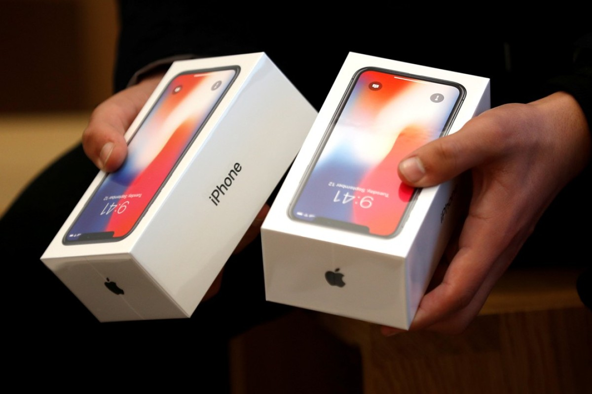 The Apple's new iPhone X at the Apple Store in London. Photo: REUTERS