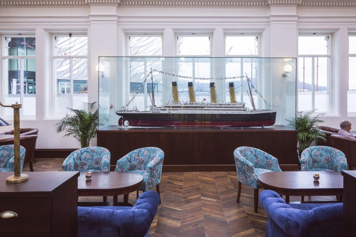 A replica of the RMS Titanic at the Titanic Hotel, in Belfast.