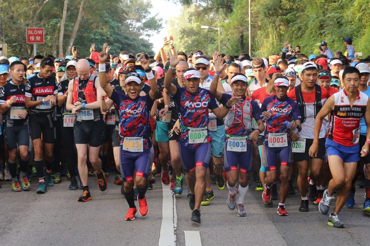 Race favourites Team Nepal push off at the start of the 2017 Oxfam Trailwalker in Sai Kung. Photo: Dickson Lee