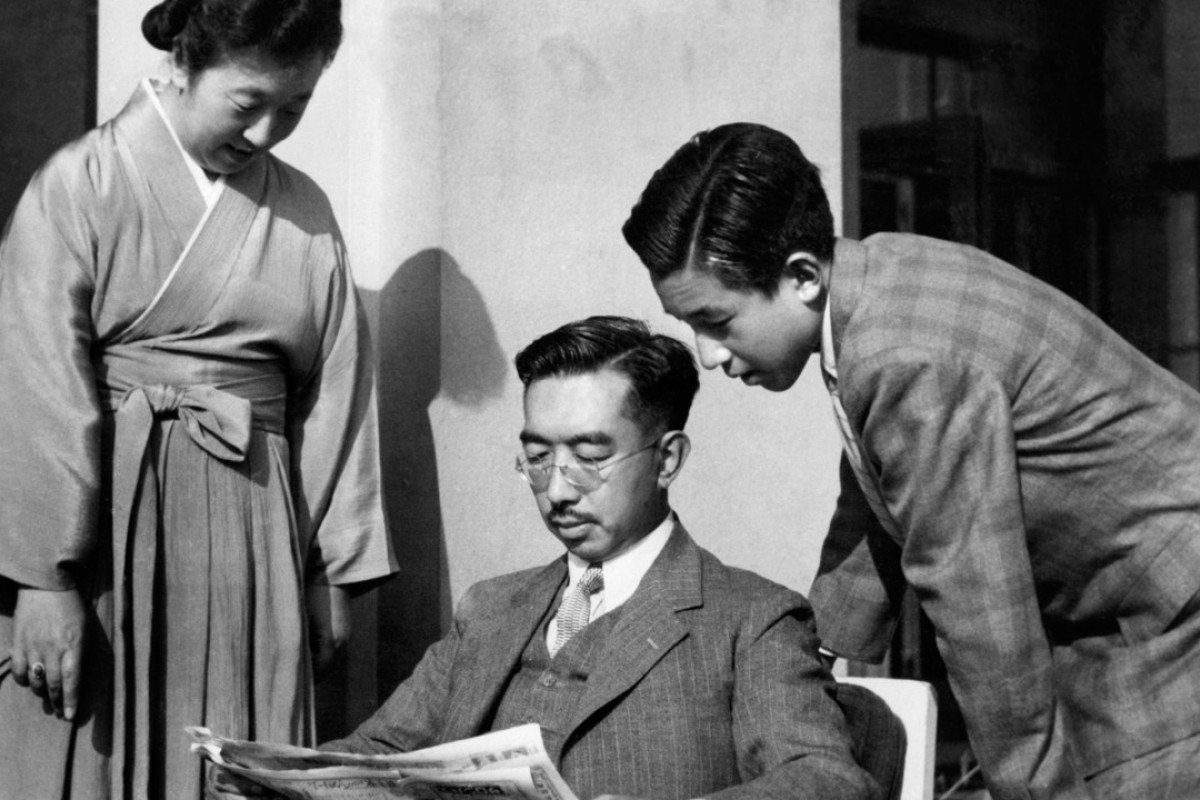 Crown Prince Akihito (right; Japan's current emperor) with his father, Emperor Hirohito, and mother, Empress Kojun, in the 1950s. Picture: AFP
