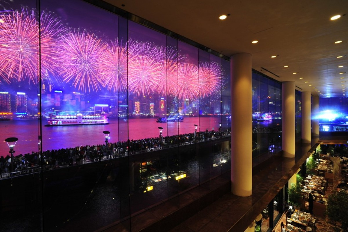 Fireworks as seen from the Inter Continental Hong Kong