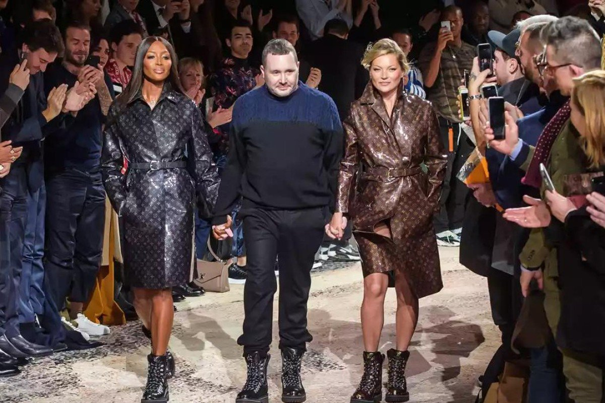 Naomi Campbell (left), Kim Jones (middle) and Kate Moss (right) were in good spirits for Louis Vuitton artistic director's final show. Photo: Christophe Petit Tesson/EPA