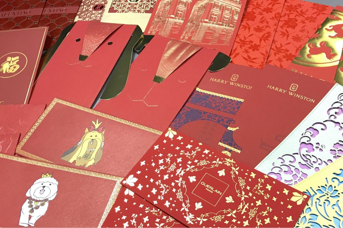 Asian red paper money bags