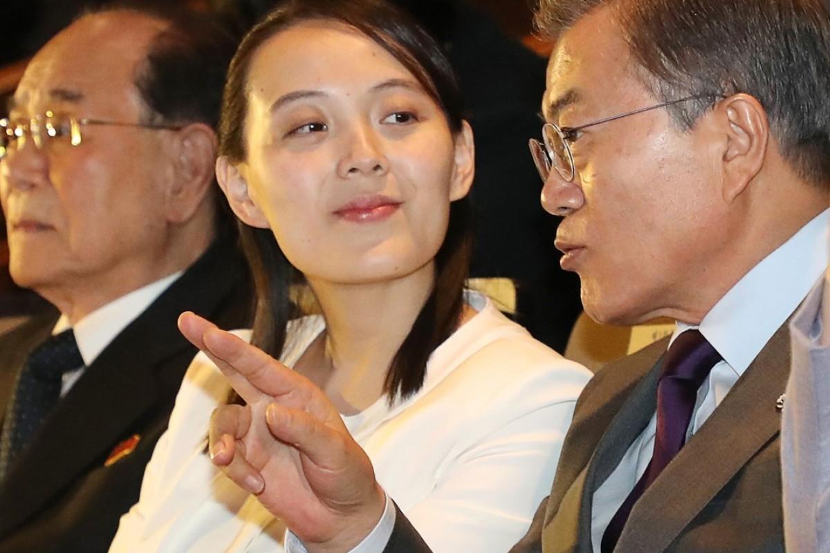 South Korean President Moon Jae-in, right, and North Korea's secret diplomatic weapon, Kim Yo-jong, centre. Photo: AFP