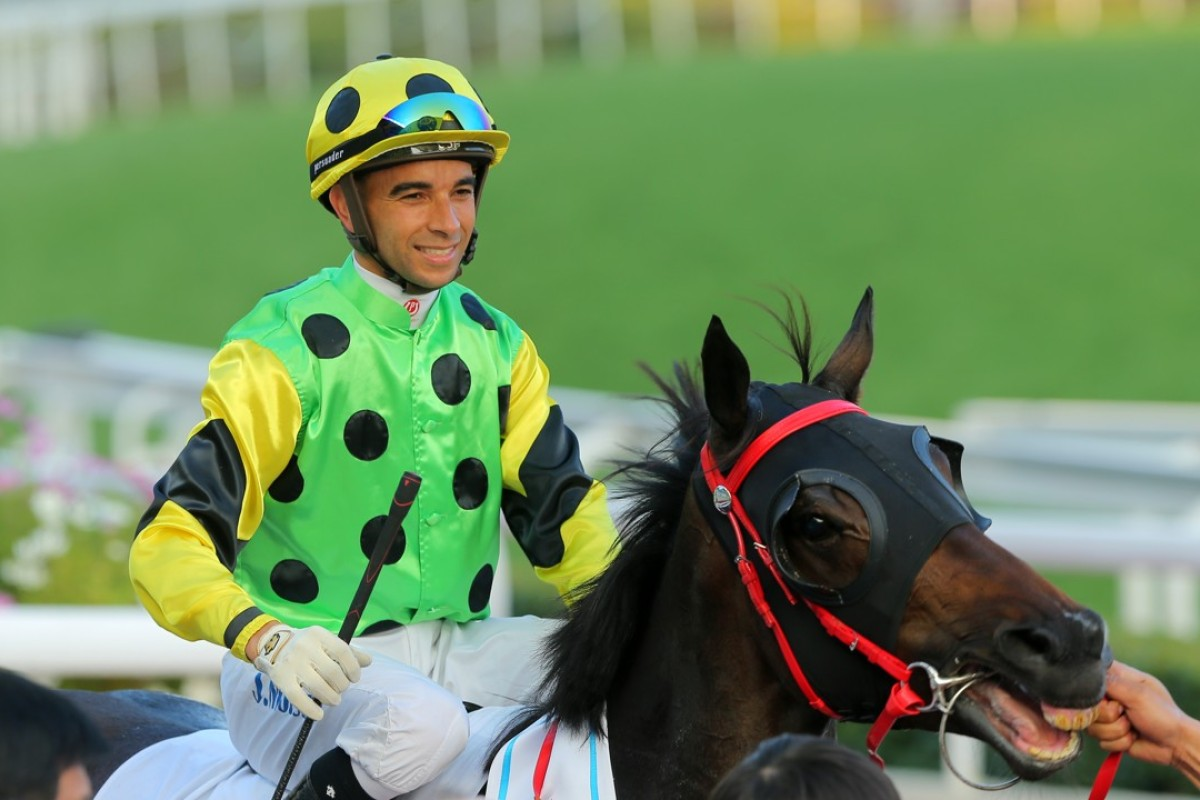Joao Moreira celebrates winning the Classic Mile on Nothingilikemore in January. Photos: Kenneth Chan