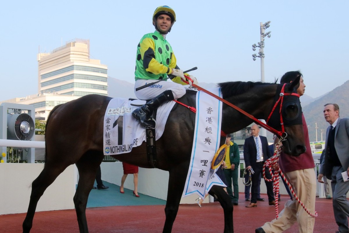 Nothingilikemore after winning the Hong Kong Classic Mile on January 21. Photos: Kenneth Chan.