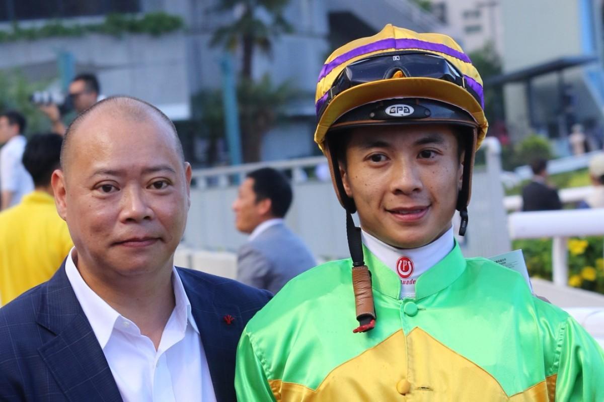 Trainer Chris So and jockey Derek Leung. Photo: Kenneth Chan