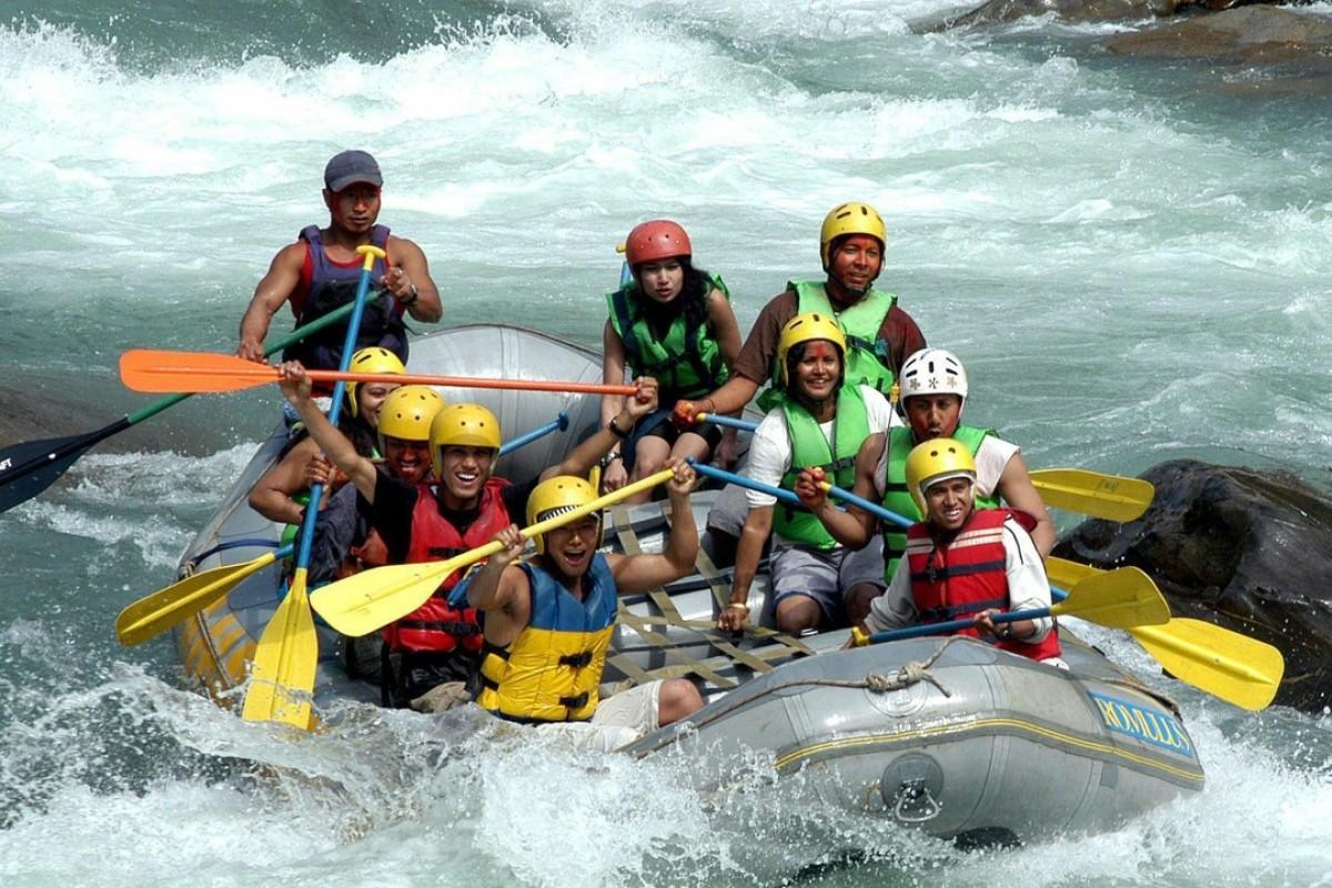 Tourists white-water raft at Bhote koshi river, 70km from Kathmandu. Photo: EPA