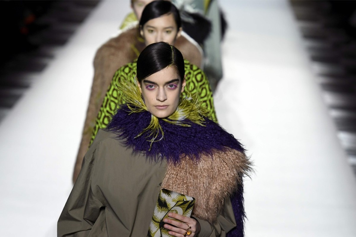 Dries Van Noten's collection at Paris Fashion Week reveals a fascination for fur and feathers. Photo: Bertrand Guay/ AFP