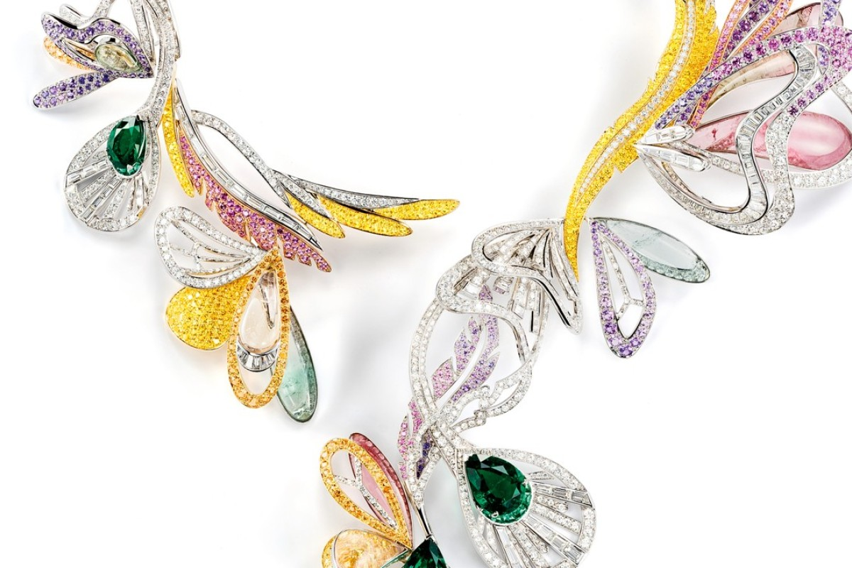 Boucheron. Inspired by butterflies, dragonfly wings and peacock feathers, the Bouquet d'Ailes necklace in white gold is adorned with emeralds, coloured sapphires, diamonds and other fine stones, HK$6.8 million
