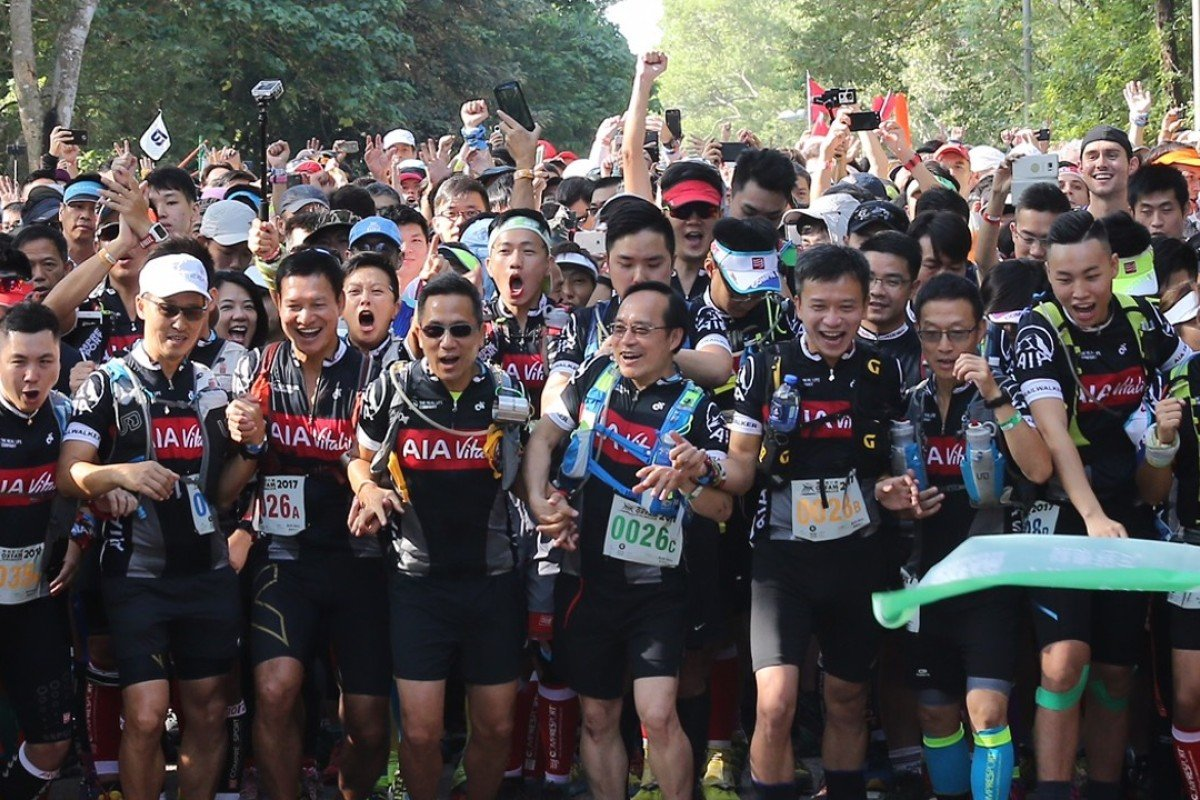 The crowded start line of the Oxfam Trailwalker. More people than ever are using the country parks, which is inevitably causing friction between different groups. Photo: Handout