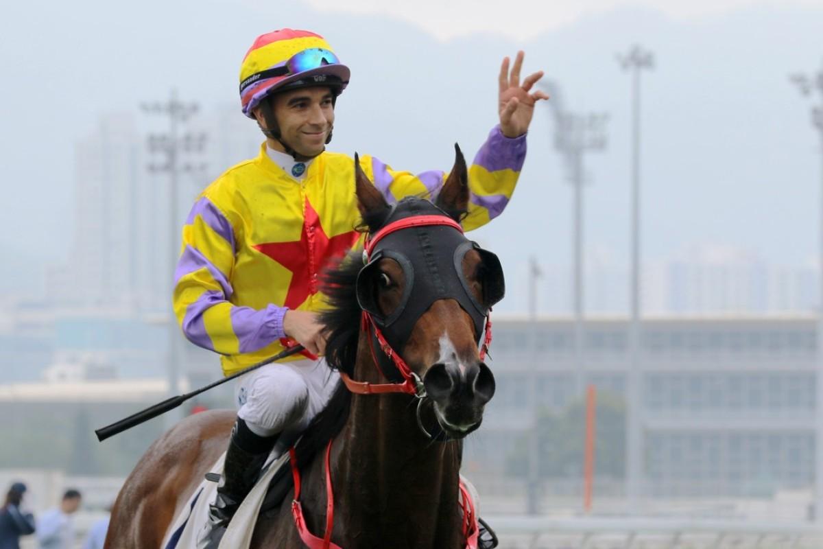 Joao Moreira celebrates a win on Ping Hai Star. Photos: Kenneth Chan