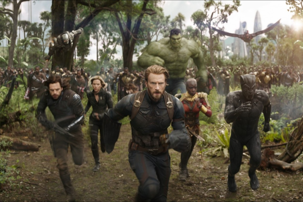 Superheroes, including Captain America, played by Chris Evans (front), in a scene from the forthcoming 'Avengers: Infinity War'. Photo: Marvel Studios 2018