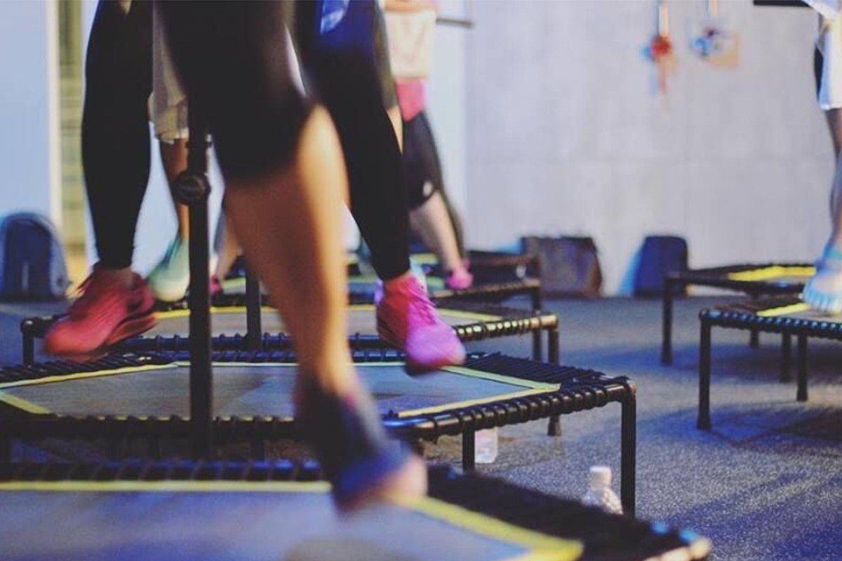 Hybrid Rebounding – one of the new fitness trends capturing the imagination of keep-fit enthusiasts in Asia – at BBOUNCE Studio, Singapore