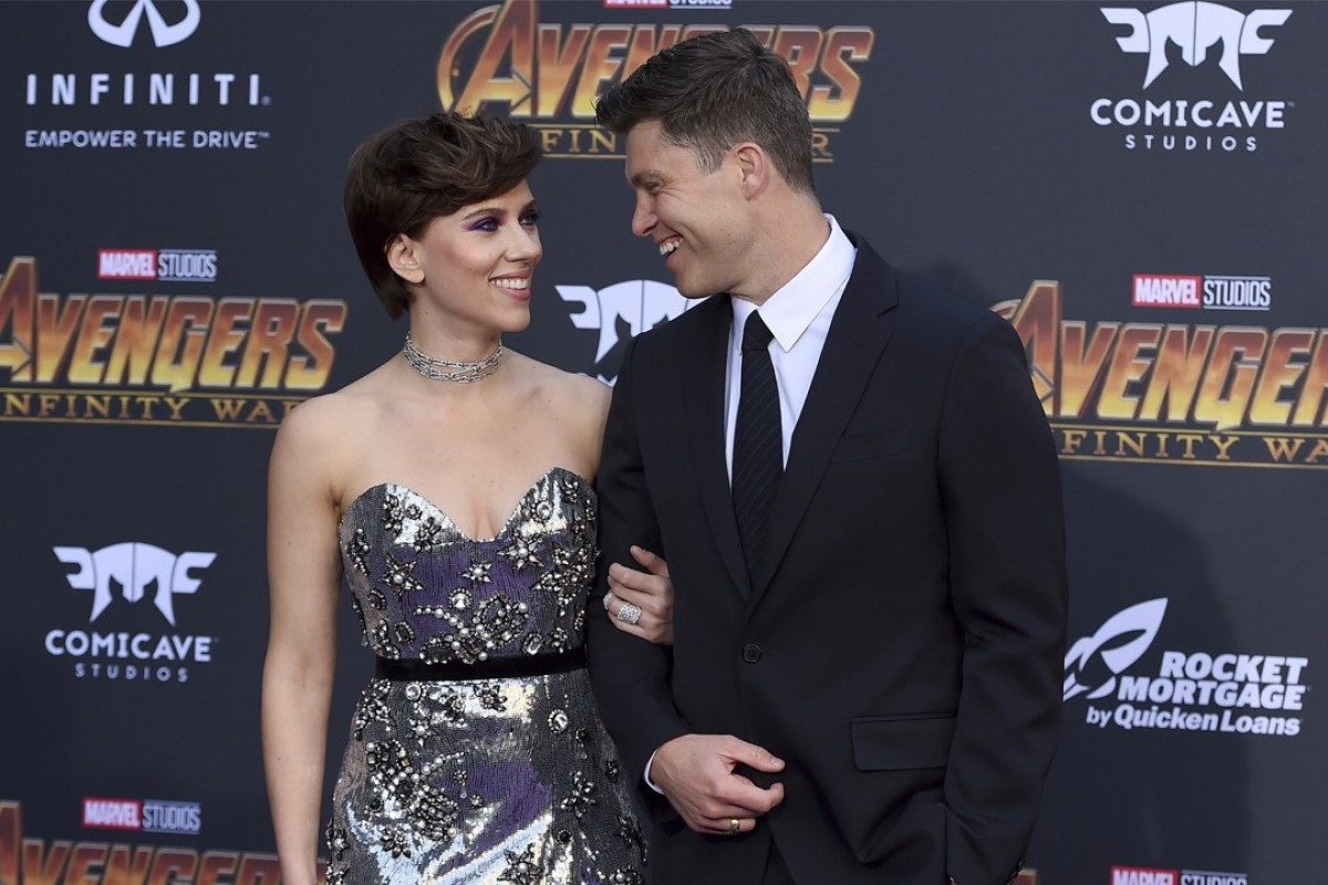 Actress Scarlett Johansson (left) and boyfriend Colin Jost arrive at the world premiere of superhero film 'Avengers: Infinity War' in Los Angeles on Monday. Photo: AP