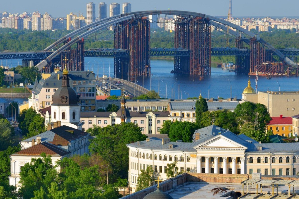 The old district of Podil and the Dnieper River in Ukraine's capital, Kiev.  Pictures