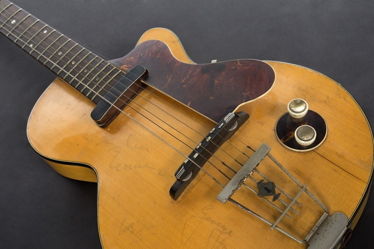 This image provided by Julien's Auctions shows George Harrison's first electric guitar. The auction house estimates the guitar will sell for between US$200,000 and US$300,000. Photo: Julien's Auctions via AP