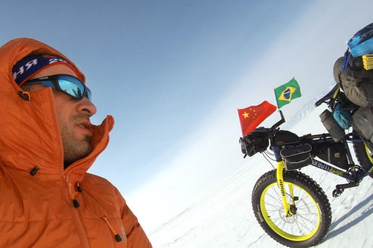 Leandro Martins is attempting to be the first person to cycle across Antarctica. Photos: Laoshi by Bike
