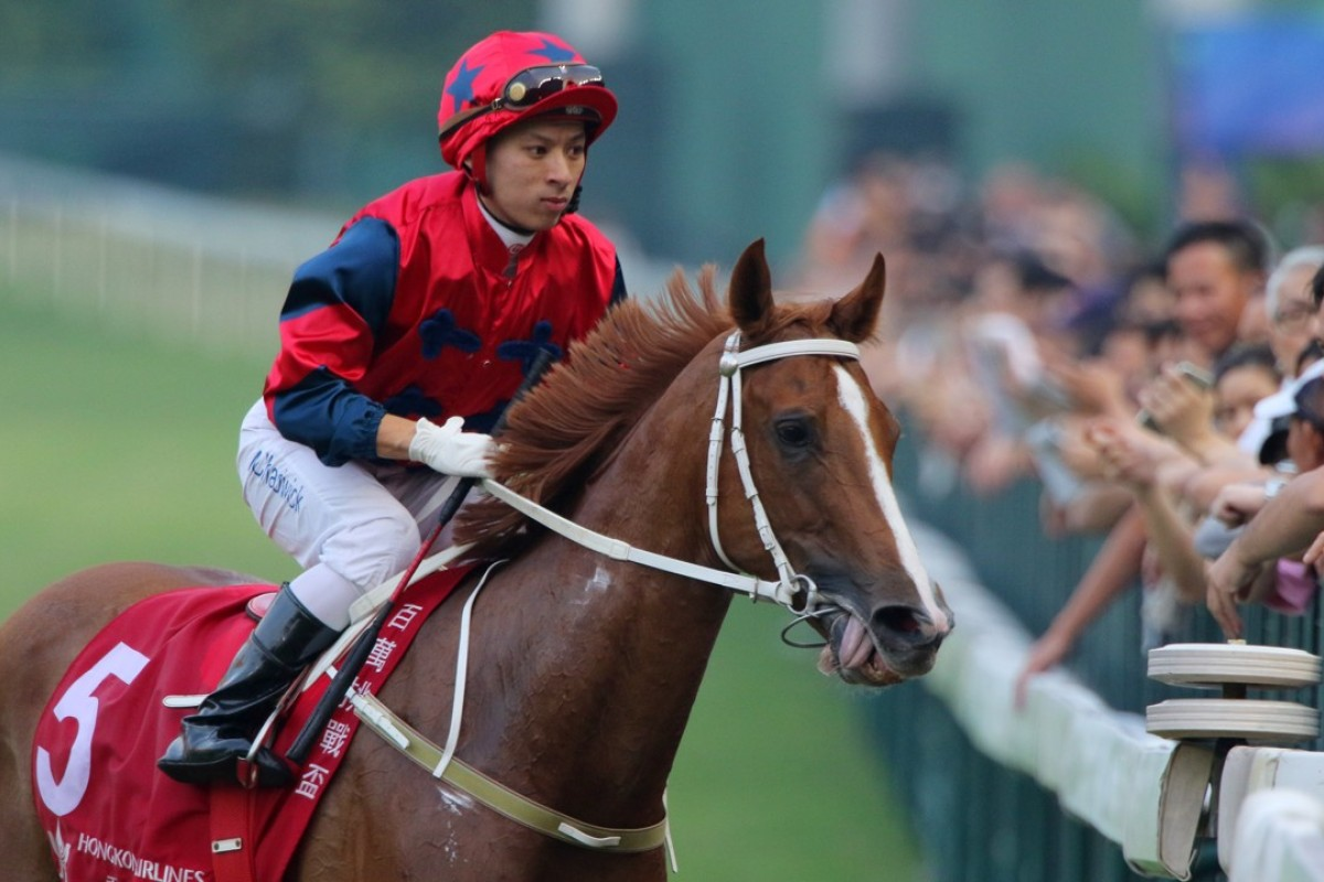Matthew Chadwick returns to scale after winning with The Golden Age. Photos: Kenneth Chan