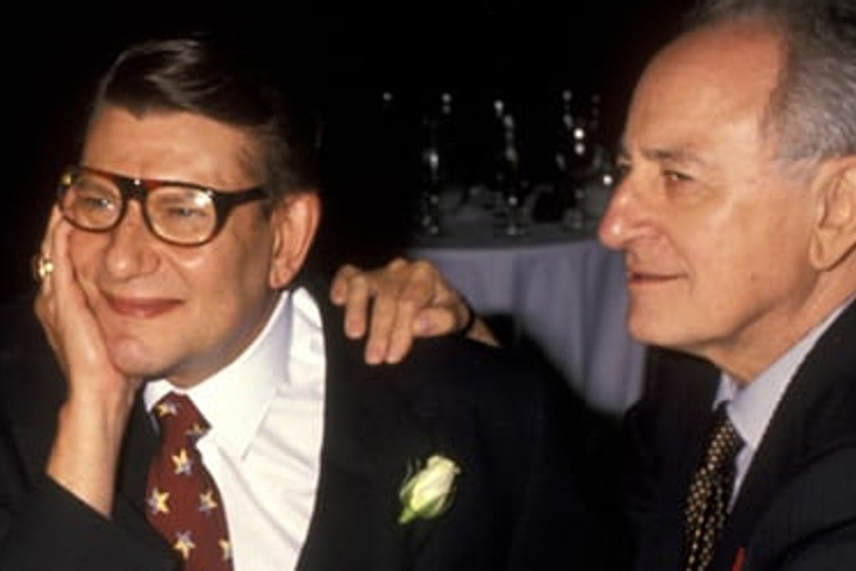 Yves Saint Laurent (left) and Pierre Bergé shared a passion for refined and beautiful objects. Photo: Ron Galella/WireImage