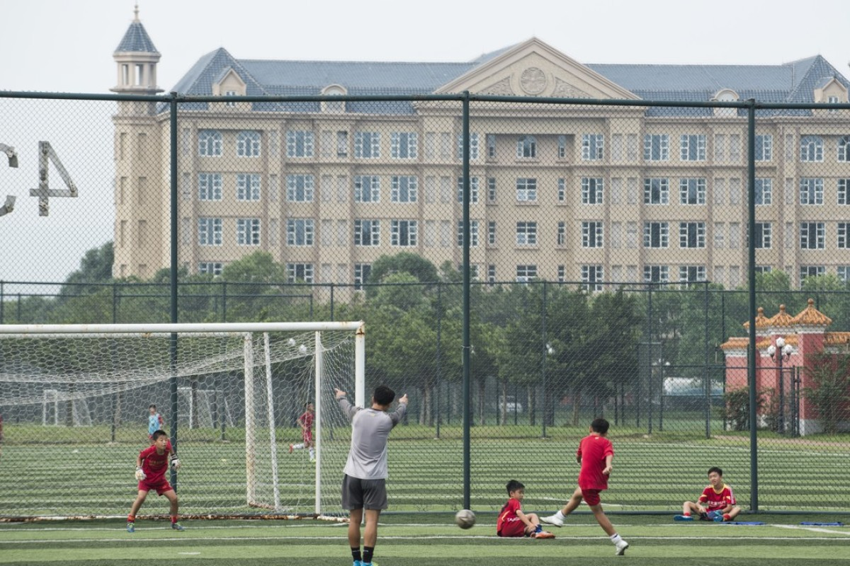A training session at the Evergrande Football School, in Qingyuan, Guangdong province. Picture: Zigor Aldama