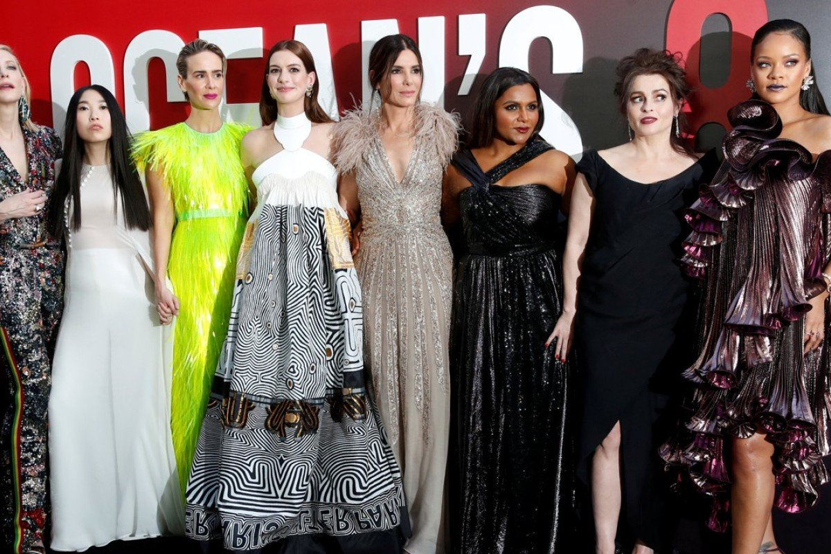 Cast members (from left) Cate Blanchett, Awkwafina, Sarah Paulson, Anne Hathaway, Sandra Bullock, Mindy Kaling, Helena Bonham Carter and Rihanna attend the world premiere of the film 'Ocean's 8' in New York on June 5. Photo: Reuters