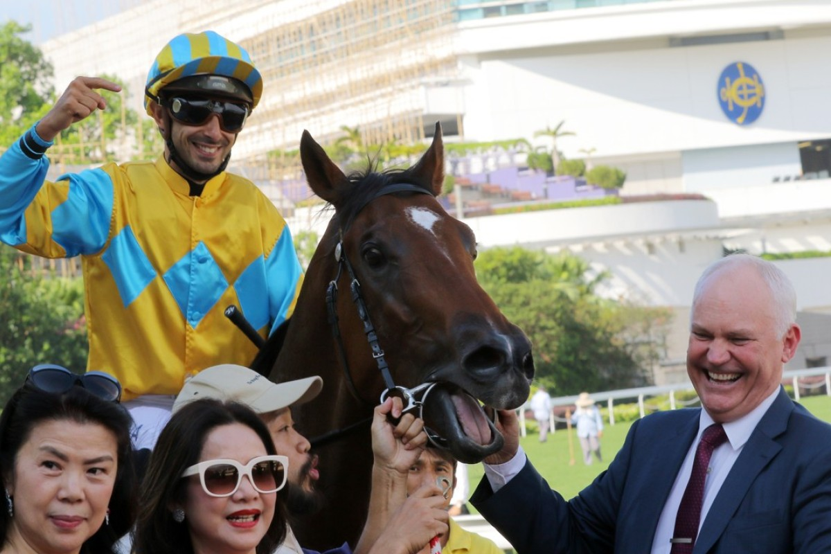 Trainer David Hall with Mr Lumieres and jockey Alberto Sanna after their victory down the straight 1,000m at Sha Tin. Photos: Kenneth Chan