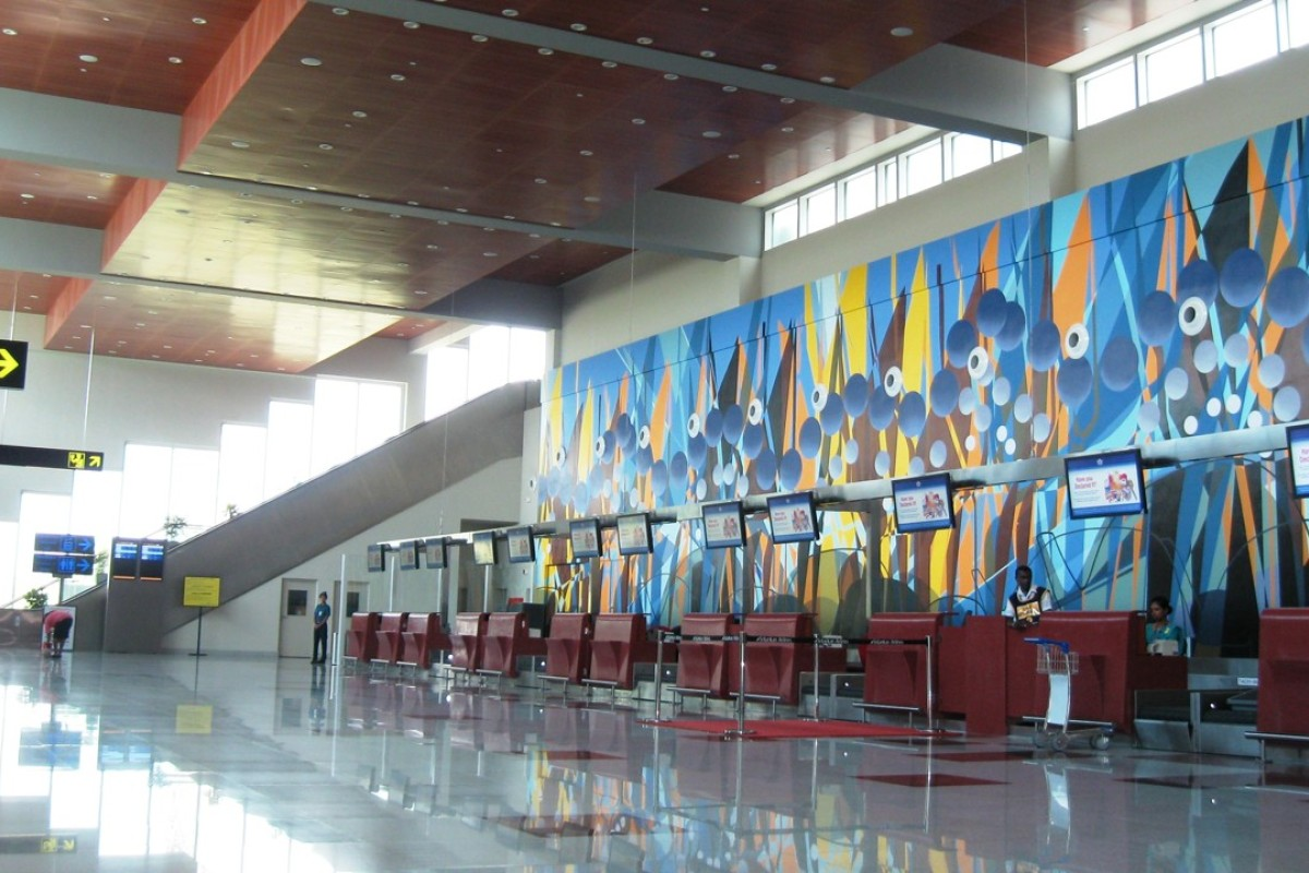 "The 12 check-in desks at Mattala Rajapaksa International Airport, which has been called the ""world's loneliest airport""."