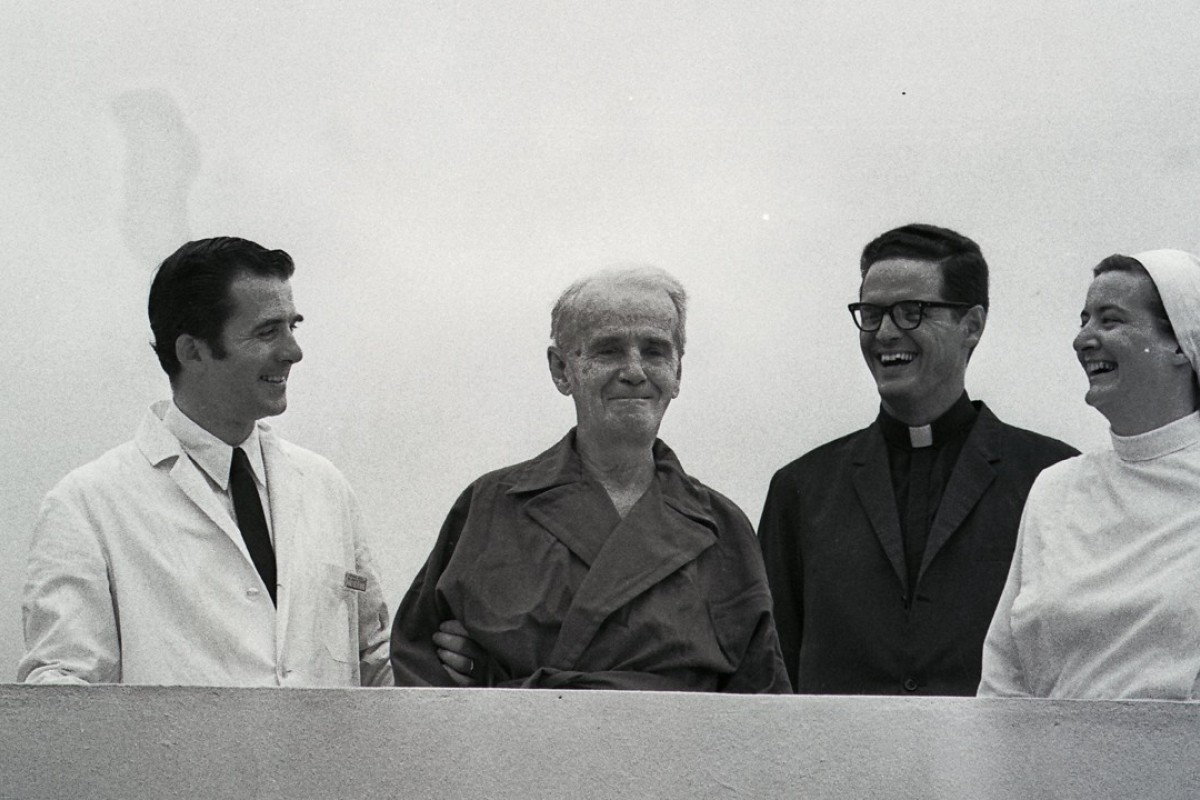 Bishop James Walsh (second from left) at Mother Maryknoll Hospital. Picture: SCMP