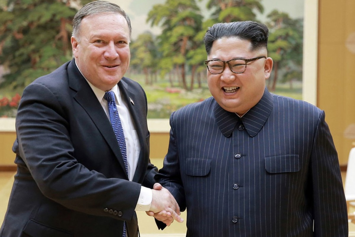 US Secretary of State Mike Pompeo with North Korean leader Kim Jong-un. Photo: AP