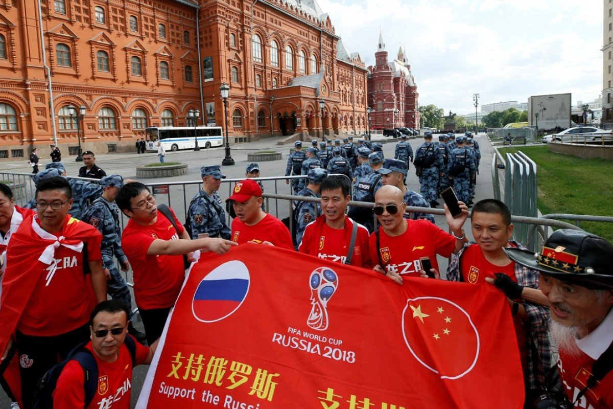 Chinese tourists arrive on the eve of the 2018 Fifa World Cup in Moscow, Russia. Photo: Reuters