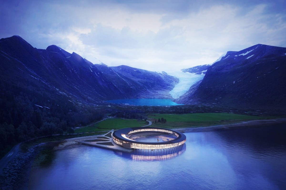 The stunning ring-shaped hotel, Svart, which is situated on Norway's Svartisen glacier, just above the Arctic Circle, will be the world's first energy positive hotel when it opens in 2021.