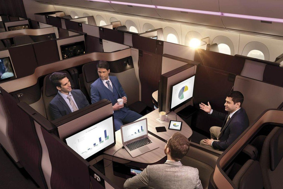 A living-room configuration of the modular Qsuite, Qatar Airways' new business-class product. Photo: Qatar Airways