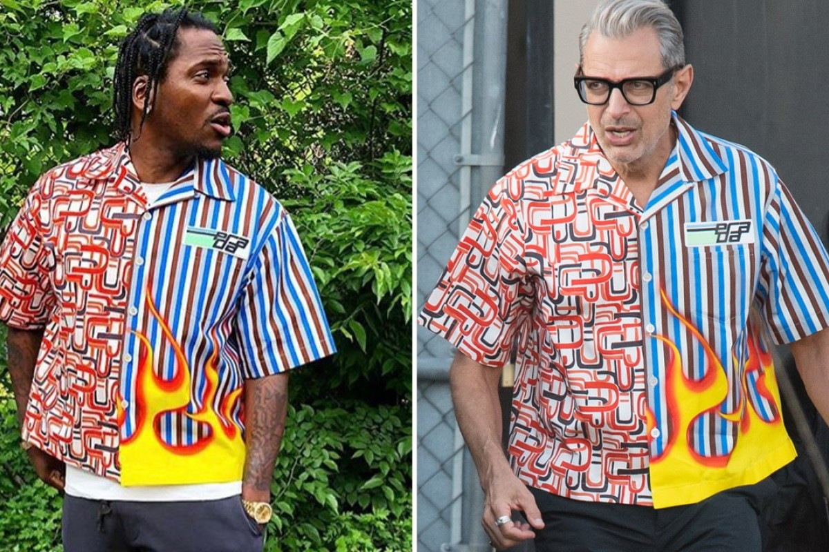 Rapper Pusha T (left) and actor Jeff Goldblum both sported Prada's 'Franken-shirt' recently, but who wore it better? Pictures: SplashNews