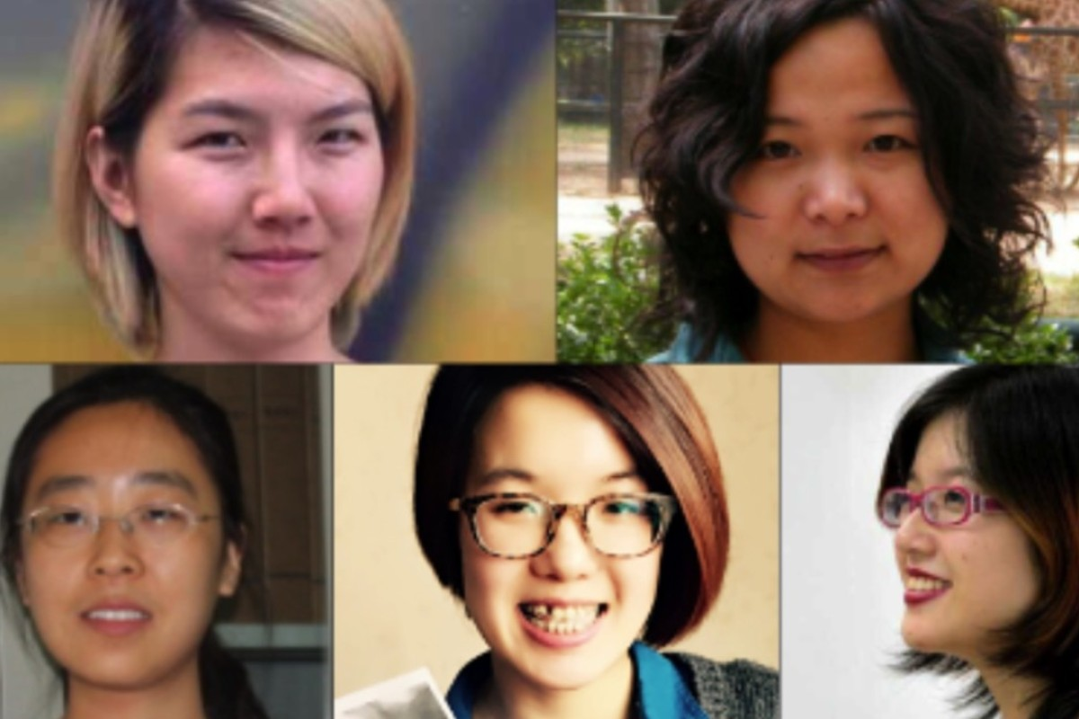 China's Feminist Five (clockwise from top left) Li Tingting, Wu Rongrong, Zheng Churan, Wei Tingting, Wang Man. Picture: AFP