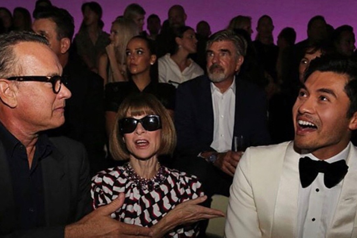 Tom Hanks (left), 'Crazy Rich Asians' star Henry Golding, and Anna Wintour of 'Vogue' were among the guests on Tom Ford's front row for the kick off of New York Fashion Week. Photo: Instagram @metrosocietyph