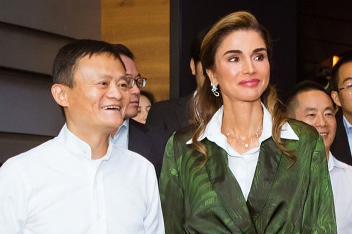Jack Ma (left) executive chairman of Alibaba Group, with Queen Rania of Jordan, during her visit to the e-commerce conglomerate's Hangzhou headquarters last Wednesday. Photo: Instagram @royalworldthailand